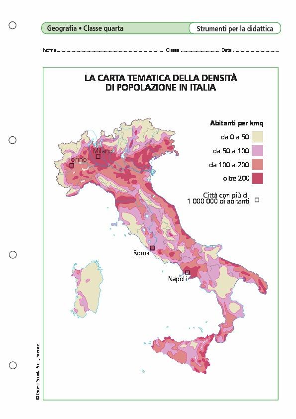 Cartina Italia Tematica.La Carta Tematica Della Densita Di Popolazione In Italia La Carta Tematica Della Densita Di Popolazione In Italia Giunti Scuola