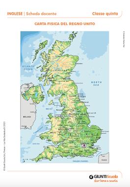 Cartina Fisica Del Regno Unito.Carta Fisica Del Regno Unito Carta Fisica Del Regno Unito Giunti Scuola