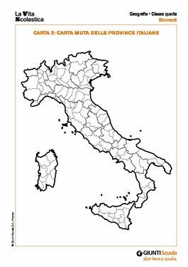 Cartina Muta Italia Province.Carta Muta Delle Province Italiane Carta Muta Delle Province Italiane Giunti Scuola