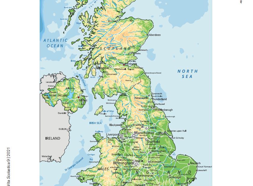 Cartina Fisica Regno Unito Da Stampare.Carta Fisica Del Regno Unito Carta Fisica Del Regno Unito Giunti Scuola